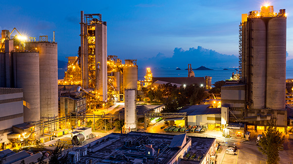 Cement plant at sunset