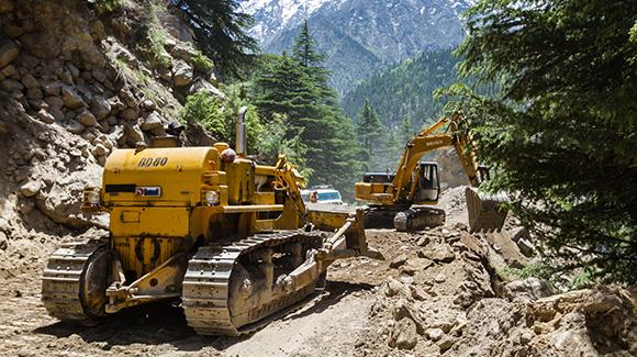Landslide in the Himalayas.